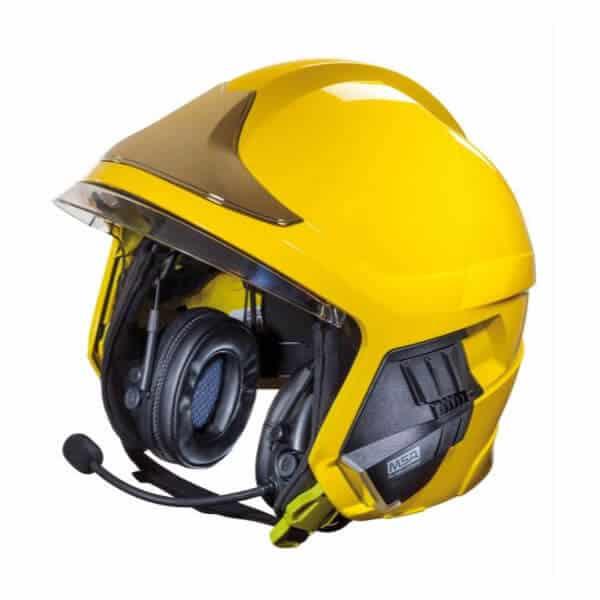 Audio headset for firefighters' helmet